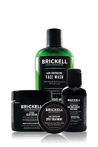 Brickell Men s Sistema de Control del Acné para Hombres, Tratamiento de Hidratación Facial para Combatir el Acné, Lavado de Cara, Tratamiento de Manchas y Crema Para Cicatrices, Natural y Orgánico