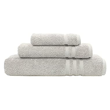 Linum Home Textiles 100% Turkish Cotton Denzi 3 Piece Combo, Towel Set, Light Grey