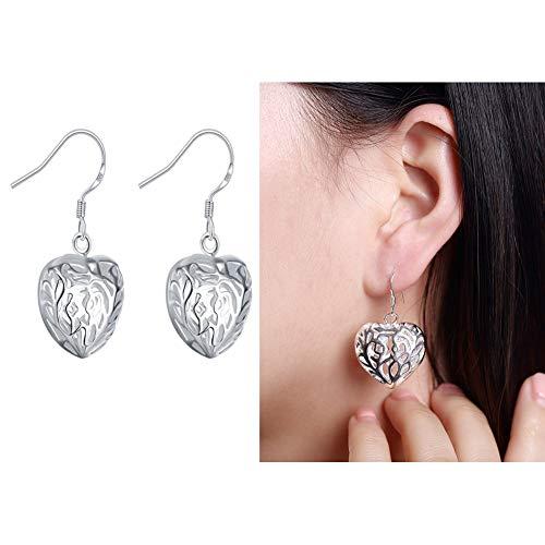 JINGM Argent Boucle d'oreille en Forme De Coeur Creux Boucles d'oreilles Exquis Femmes Peach Coeur Bijoux Anti-Allergie