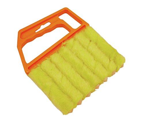 GARDINIA Reinigungsbürste für Jalousien, Kunststoff, 12 x 15 cm (BxH), Gelb-Orange