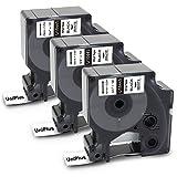 UniPlus 3x Etiquetas Industriales Compatible para Dymo Rhino 18445 19mm 3/4' Negro Sobre Blanco Permanent Cinta para Dymo Rhino 4200 5000 5200 6000, 19 mm x 5,5 m