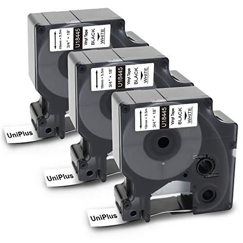 Uniplus 3x Kompatibel für Dymo Rhino 18445 Industrie Vinyl Etiketten 19mm, Schwarzer Druck auf Weiß em Untergrund, Compatible für Rhino 4200 5000 5200 6000