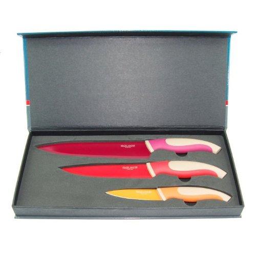LE COUTEAU DU CHEF 446190 Coffret Cadeau de 3 Couteaux de Cuisine avec Manche Titane/INOX Framboise/Rouge/Jaune 35 x 15 x 4 cm