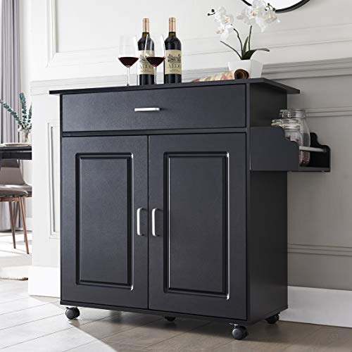 Kitchen Island with Storage on Wheels Kitchen Cart Trolley with Storage, Wood Top Kitchen Cart with Drawers, Buffet Cabinet, Storage Cabinet, Spice Rack for Kitchens Dining, Black Kentucky