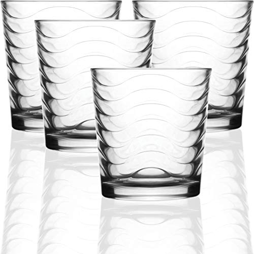 Circleware Pulse Set of 4-12.5 oz Heavy Base Drinking Whiskey Glass Glassware Cups for Vodka, Brandy, Scotch, Bourbon & Best Selling Liquor Beverage, 4pc DOF, Clear