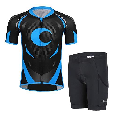 LSHEL Kinder Jungen Radsport Anzüge Atmungsaktive Mädchen Fahrradbekleidung Set Trikot Kurzarm Radhose mit Sitzpolster, Schwarz+Blau, 122/128(Herstellergröße: L)