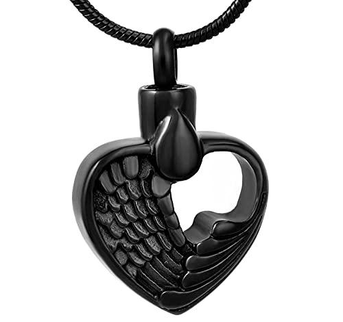 DIYPNM 316L inoxidablecenizas de cremación de Acero Femme, joyería de cremación de corazón de Plumas Vintage en Collares Pendientes para Mujeres