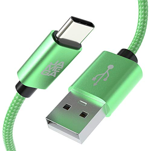 JAMEGA – 3m USB Typ C Kabel Grün | 3A Nylon geflochten USB C Ladekabel & Datenkabel Fast Charge Snyc schnellladekabel kompatibel mit Samsung Galaxy S10/S9/S8+, Sony Xperia XZ, Huawei P30/P20
