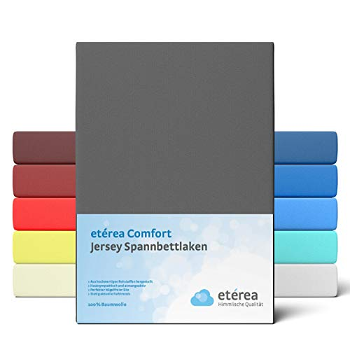 etérea Comfort Jersey Spannbettlaken 180x200 bis 200x200cm - Weiches Spannbetttuch aus 100% Baumwolle, Bettlaken mit ca. 25 cm Steghöhe und 140 g/m², Anthrazit