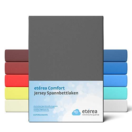 etérea Comfort Jersey Spannbettlaken 90x 200 bis 100x200cm - Weiches Spannbetttuch aus 100% Baumwolle, Bettlaken mit ca. 25 cm Steghöhe und 140 g/m², Anthrazit