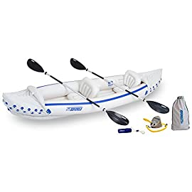 """Sea Eagle 370 Deluxe 3 Person Inflatable Portable Sport Kayak Canoe w/ Paddles 3 3 person/650 lb capacity, weighs 26 lbs, suitable for up to Class III whitewater 370 Deluxe Kayak Package features two movable, super comfortable Deluxe Kayak Seats for improved back support and 2 paddles, foot pump, and carry bag 2 AB30 7'10"""""""" 4 Part Paddles with asymmetrical blade and aluminum shaft.Seam:High Frequency Welded"""