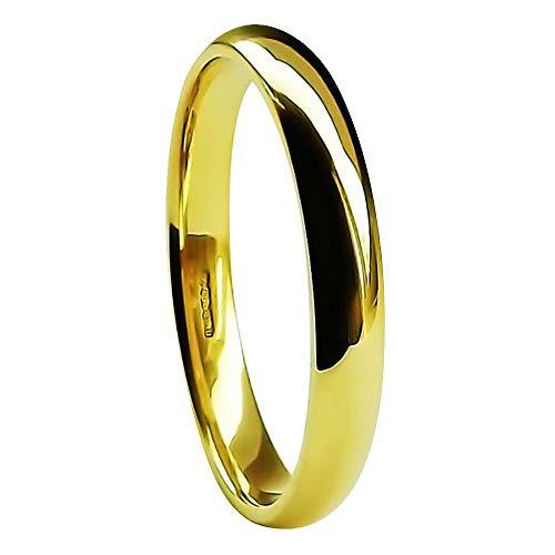CALIDAD GB 18ct Oro Amarillo 3mm Corte Pesado / Confort Alianza 3,5 gr Talla I para P