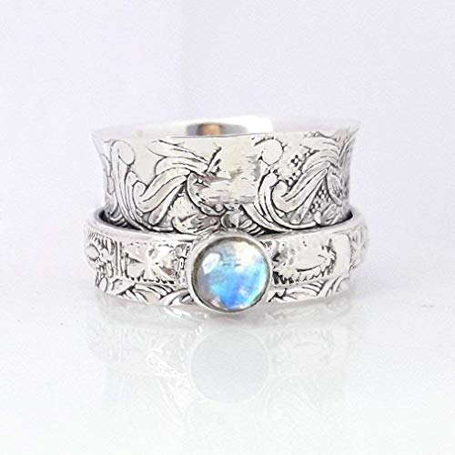 Valentine's Love Gift Ring for Couple, Floral Textured Ring, Beautiful Rainbow Moonstone Ring, 925 Sterling Silver Handmade Spinner Ring, Meditation Ring, Chunky Ring