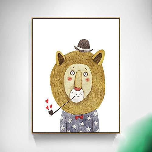 SDFSD Cartoon Mode Cooles Modell Gentleman Bär Löwe Panda Nettes Tier Kinderzimmer Schlafzimmer Wohnkultur Poster Wandkunst Leinwand Malerei 60 * 100cm