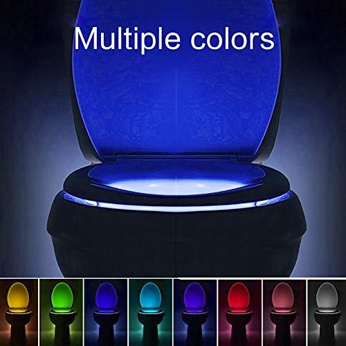 Toilet Bowl Light, 16-Color Motion Activated Sensor LED Night Light, 5-Stage Dimmer, Bathroom/Washroom Toilet Seat Nightlight, Light Detection (2 Pack)