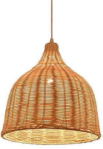 Bambú Mimbre Sombra Accesorios de ratán Luces colgantes Pantalla de madera antigua Lámpara de araña Iluminación primitiva Lámpara de techo colgante rústica asiática, Ø40cm