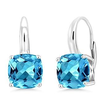 Gem Stone King 925 Sterling Silver Swiss Blue Topaz Earrings For Women Gemstone Birthstone 5.48 Cttw Cushion Cut 8MM