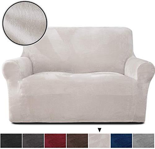 Rose Home Fashion Sofabezug für 2 Sitzer, 1 Stück Elastischer Sofaüberwurf Samt-Optisch, Couch Überzug, Sofa Überzug, Geeignet für Loveseat mit Einer Länge von 119-173 cm, Beige