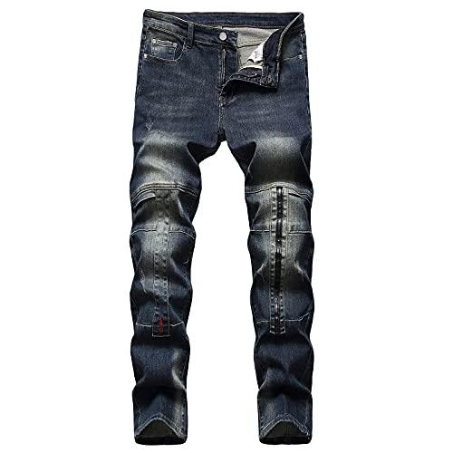 WQZYY&ASDCD Jeans Vaqueros Pantalon Vaqueros De Diseñador De Mezclilla Hombre Sólido Hip Hop Punk Streetwear 36Winch 9365