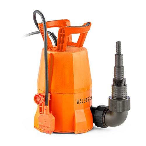 Waldbeck Nemesis T400S Bomba - Bomba Sumergible , Bomba para el jardín , 400 W , 7000 litros/h , Potente , Altura de extracción de 7 m , Incluye Adaptador para Distintas mangueras , 3,6 kg , Naranja