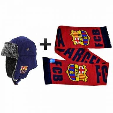 FC Barcelone Trappeur Style Chapeau et écharpe Ensemble Cadeau