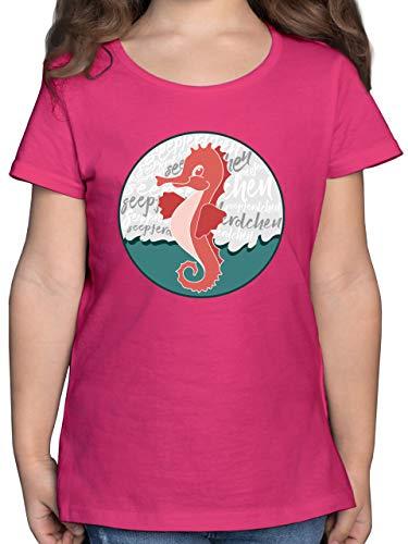 Sport Kind - Seepferdchen Abzeichen - 128 (7/8 Jahre) - Fuchsia - F131K_Shirt_Mädchen - F131K - Mädchen Kinder T-Shirt