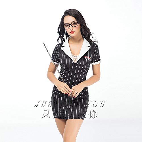 MEN.CLOTHING-LEE BH-Hemden für Damen Damen-Reizwäsche Sexy sexy Dessous Extreme Versuchung weiß schwarz Anzug Lehrer Magd Dienstmädchen Overalls-weiß + schwarz Einheitsgröße