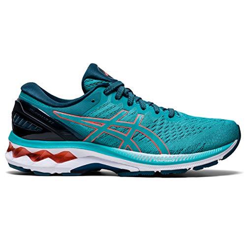 ASICS Womens Gel-Kayano 27 Running Shoe, Techno Cyan/Sunrise Red, 41.5 EU