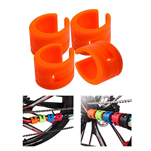 Perfeclan 4 Sets Bike Chainstay Protector Rings Bicycle Frame Protector Guard Pad Cover for Mountain Road Bike Fork Protective Outdoor Sports Safety Cycling - Orange