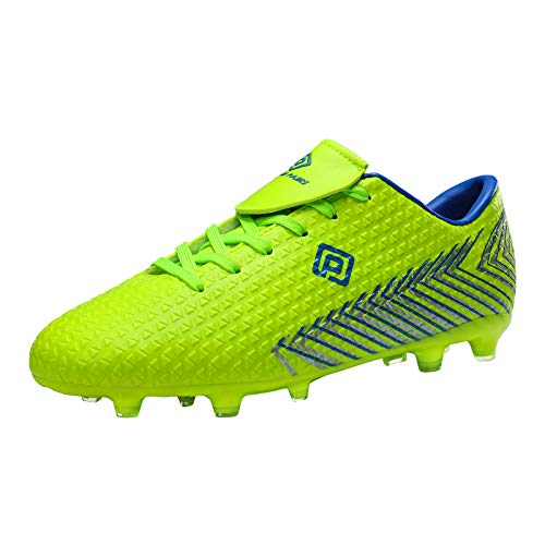 DREAM PAIRS Men's Mega-2 Firm Ground Soccer Cleats Shoes, Neon Green Royal, Size 6.5