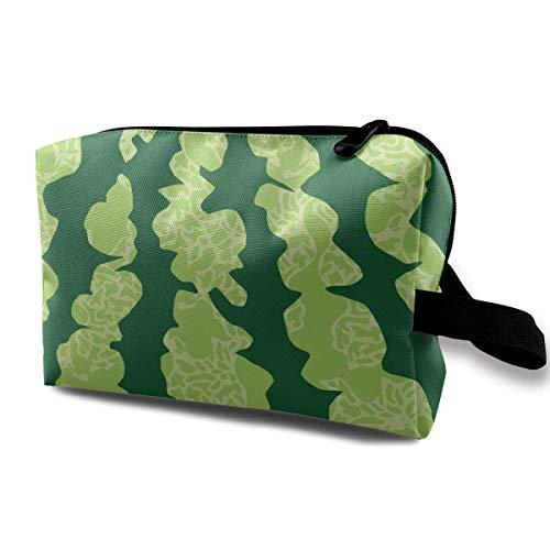 Green Watermelon Skin Pattern Travel Storage Bag Cosmetic Bag