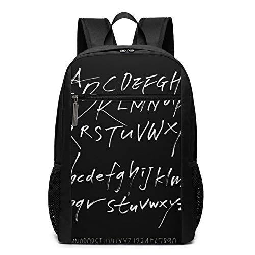 Schulrucksack ABC Alphabet Number Calligraphy, Schultaschen Teenager Rucksack Schultasche Schulrucksäcke Backpack für Damen Herren Junge Mädchen 15,6 Zoll Notebook