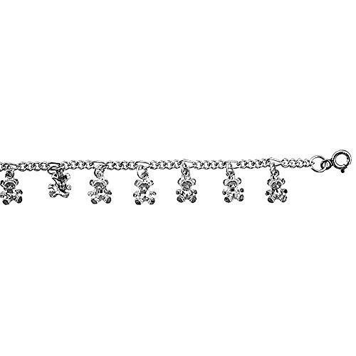 Cavigliera a maglia Figaro in argento Sterling, con ciondoli a forma di orsetto