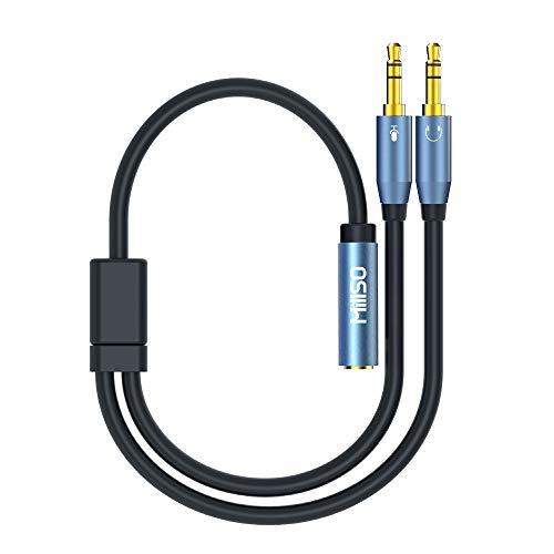 MillSO 3,5mm Klinke Y Adapter, vergoldete Headset Splitter (Doppel 3,5mm Klinkenstecker auf 4 polig 3,5mm Klinken-Kupplung in CTIA Standard) für Kopfhörer Desktop und Laptop