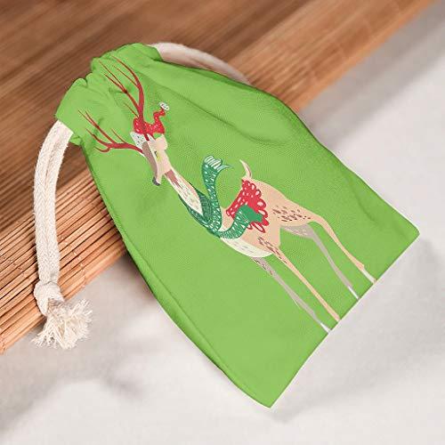 O1FHW-8 6 Stück Weihnachten Kordelzug Kordelzug Tuch Bag Langlebig Sachet Pouch für Valentinstag Geburtstag Geschenk Wrap Bags - Elch Stil Drucken white 20 * 25cm