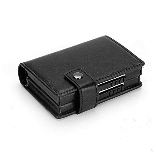 Paquete de Tarjeta ZZXS Tarjetero de Aluminio Minimalista Tarjetero de Serpiente Funda de Fibra de Carbono Negro Tarjetero de Cuero de PUCaballo Loco Negro