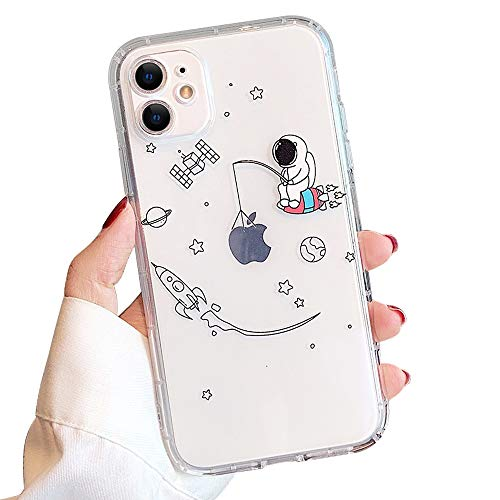 Ownest Compatible with iPhone 12 /iPhone 12 Pro Case for Clear Creative Astronaut Cute Cartoon Pattern Soft TPU Protective Slim Shockproof Case for iPhone 12/12 Pro-Fishing