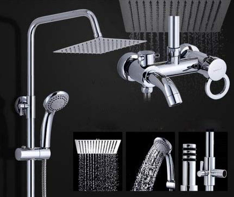 Badezimmer warmes und kaltes Wasser ABS-Duschset Vollkupfer ultradünne Booster-Funktion Messing-Mischbatterie Doppelgriffe Wandmontage, H