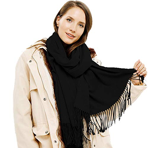 """SUPCOOKI Women 25.6""""X78.7"""" Large Cashmere Scarf with a Gift Box Soft Wraps Shawls (Black)"""
