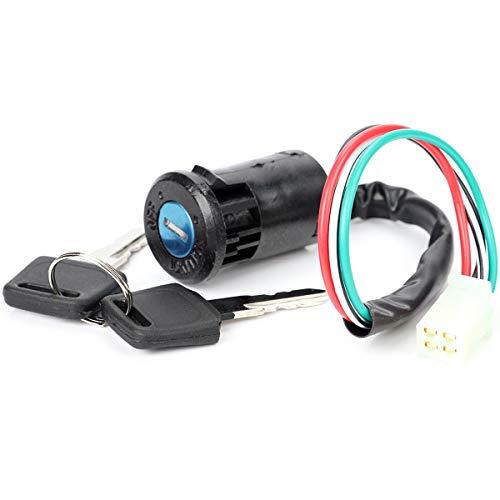 Gobutevphver Motocicleta Todoterreno Modificado Universal pequeño Juego Alto ATV Arranque Interruptor de Encendido Interruptor de Llave de Cerradura de Puerta eléctrica - Negro