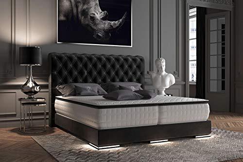 HG Royal Estates GmbH Baron Chesterfield Boxspringbett inkl. LED-Beleuchtung, Visco Topper, 7-Zonen Taschenfederkernmatratze, H3, Schwarz Stoff Größe 200 x 200 cm
