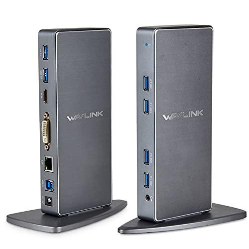 Wavlink - Estación de Acoplamiento USB 3.0 de Doble Pantalla, Base Universal con 6 Puertos USB, Compatible con HDMI/DVI/VGA, Gigabit Ethernet, Entrada y Salida de Audio