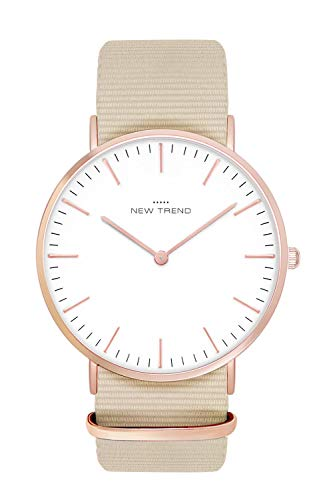 New Trend Unisex Armbanduhr Rosegold Damen-Uhr Herren-Uhr, Analog Uhr, Quarz-Uhr, Textil-Armband, Nylon-Armband, NATO-Armband, Metall-Armband, Edelstahl-Armband (Beige)