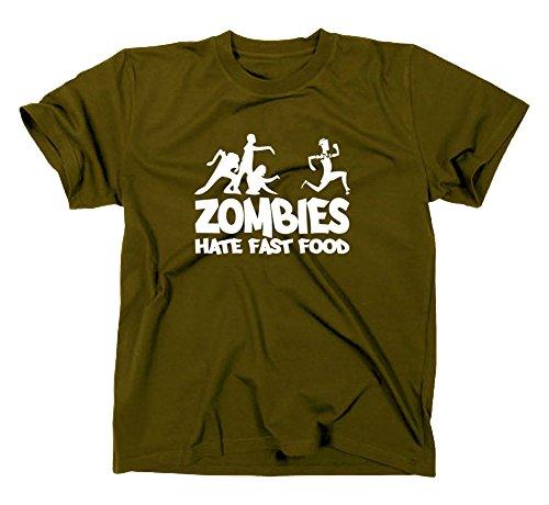 Zombies hate Fast Food Fun T-Shirt, zombie, horror, Oliv, XXL