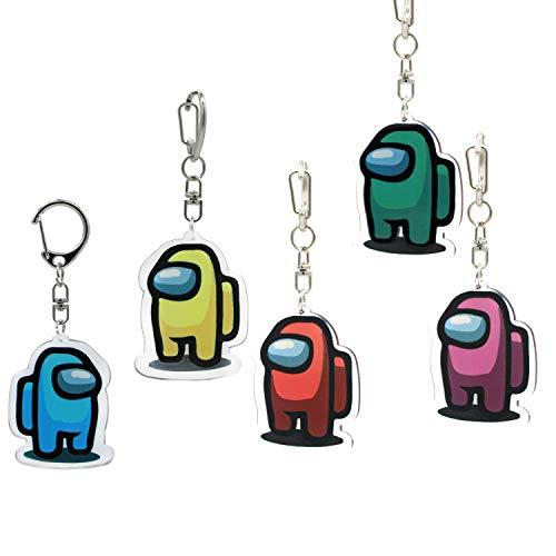 5 Pack Among Us Keychain Crewmate Handmade Among Us Fandom Keychains Character Game Acrylic Colourful Gift