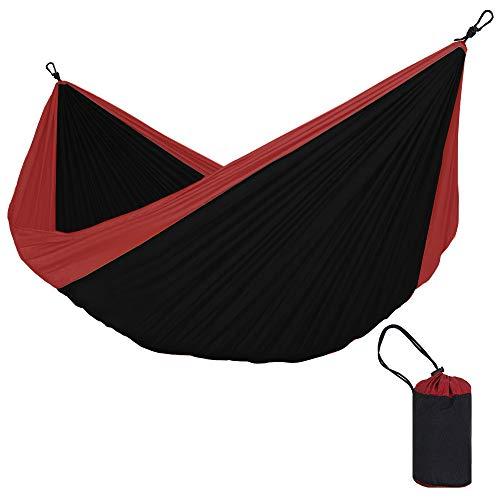 Hamac double couleur léger en tissu de parachute respirant ultra léger (charge maximale 180 kg), 320 cm x 200 cm 320cm*200cm noir/rouge