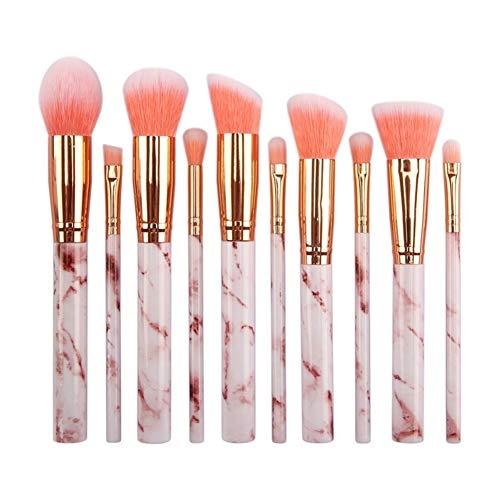 Make up brosses 10 PCS marbre Motif Professionnel Maquillage Brosse Ensemble Kabuki Fondation mélange correcteur Yeux Visage Liquide Poudre crème brosses Ensembles avec Sac cosmétique,A