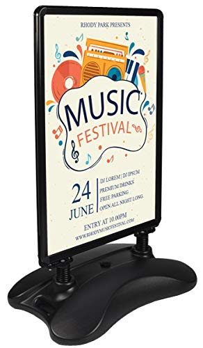 Sidewalk Poster Stand with Water-Fill Base Holds 24x36 Graphics, Double-Sided Sandwich Board for Outdoor Use, Front-Loading Snap-Open Poster Frame, Black