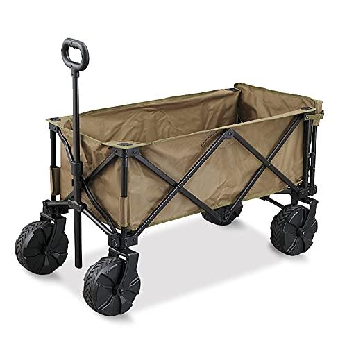 アイリスオーヤマ キャンプ用品 アウトドア キャリーワゴン アウトドアワゴン 大型タイヤ 悪路対応 大容量 2人分はいる コンパクト収納 収納バッグ付き 持ち手伸縮 カーキ ODW-940