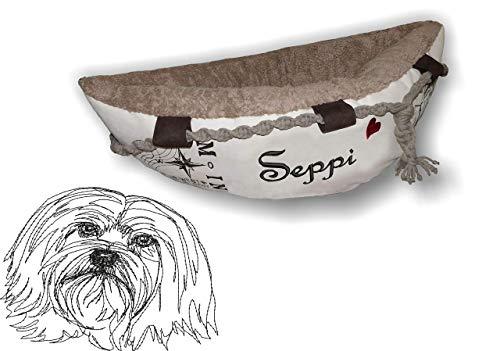 LunaChild Hundebett Hund Boot Böötchen Löwchen 1 Hundeboot Sofa Lounge Hunde lounge mit Name Wunschname Snuggle Bag Größe XS S M L viele Farben Hundekorb